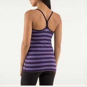 Lululemon Power Y Tank luon top purple stripes 10